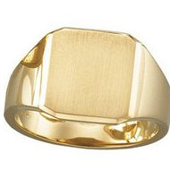 14K Gold Gents Solid Signet Ring W/Brush Finished Top