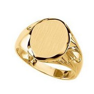 14K Gold Gents Signet Mounting Ring W/Brush Finished Top