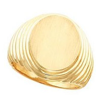 14 K White Gents Signet Ring W/Brush Finished Top