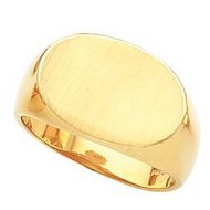 14K Gold Gents Signet Rings W Brush Finished Top
