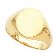14K Gold Gents Solid Oval Signet Ring W Brush Finished Top