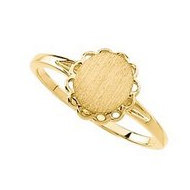 14K Gold Women's Oval Signet Ring
