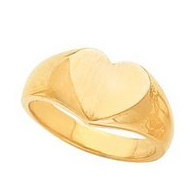 14K Gold Ladies Heart Signet Ring
