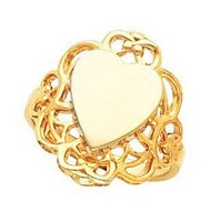 14K Gold Ladies Heart Signet Ring W Filigree Design