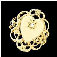 14K Gold Ladies Heart Signet Mounting Ring