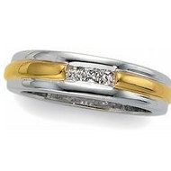 14K Yellow Gold Two Tone Diamond Wedding Band