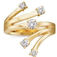 14K Yellow Gold Diamond Right Hand Ring