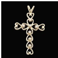 14K Yellow Diamond Cross Pendant