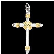 Sterling Silver   14K Gold Cross Pendant