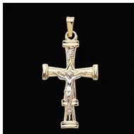 14K Yellow Gold Two Tone Crucifix Pendant