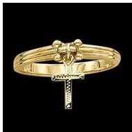 14K Yellow and White Gold Cross Ring