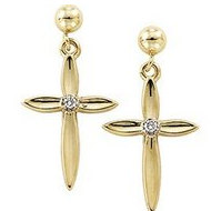 14K Yellow Gold Cross Earrings with Genuine Diamond