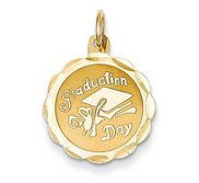 Floral Shaped Diamond Cut Graduation Pendant Charm