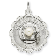 Sterling Silver Graduation Day Disc with Cultured Pearl Charm
