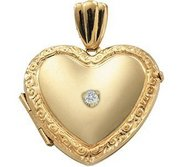 14K Yellow Cremation   Hair Locket w  Diamond Center