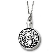 Sterling Silver Antiqued Round Remembrance Cremation Ash Holder w  18 Inch Chain