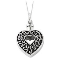 Sterling Silver Antiqued Heart Remembrance Cremation Ash Holder w  18 Inch Chain
