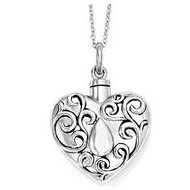 Sterling Silver Antiqued Grieving Heart Cremation Ash Holder w  18 Inch Chain