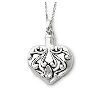 Sterling Silver Antiqued Heart Remembrance Cremation Ash Holder w/ 18 Inch Chain
