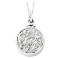 Sterling Silver Tear in a Circle Cremation Ash Holder w  18 Inch Chain