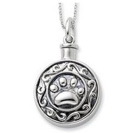 Sterling Silver Antiqued Dog Paw Print Round Cremation Ash Holder w  18 Inch Chain