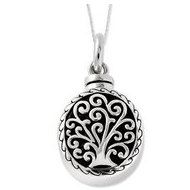 Sterling Silver Antiqued Tree of Life Cremation Ash Holder w  18 Inch Chain