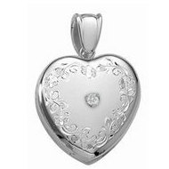 14K White Premium Cremation   Hair Locket w  Diamond Center