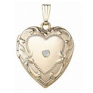 14K Yellow Gold Cremation & Hair Locket w/ Diamond Center