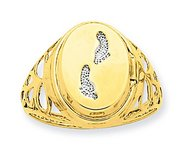 14K Yellow Gold Rhodium Footprints Locket Ring