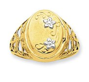 14k Yellow Gold Rhodium Floral Locket Ring