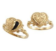 14K Yellow Gold Heart Locket Ring