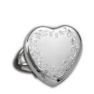 14k White Gold Heart Locket Ring