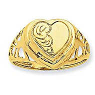 14k Heart 1/2 Cartouche Embossed Locket Ring