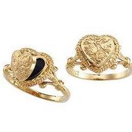 14K Yellow Gold Heart Locket Ring