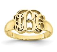 Personalized Vine Script Cut Out Monogram Signet Ring
