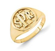 Personalized Block Monogram Signet Ring