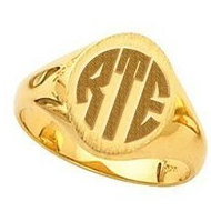 14K Gold Ladies Signet Monogrammed Ring