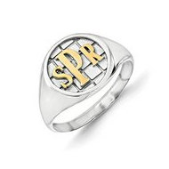 Personalized Two Tone Monogram Signet Ring