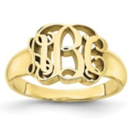 Personalized Vine Script Cut-Out Monogram Signet Ring