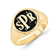 Personalized Antiqued Block Monogram Signet Ring