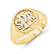 Personalized Signet Monogrammed Two Tone Ring