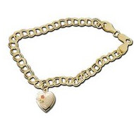 14K Yellow Gold Heart Shaped  I Love You  Locket Bracelet