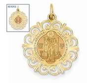 Saint Bendedict Double Sided Round Filigree Religious Medal   EXCLUSIVE
