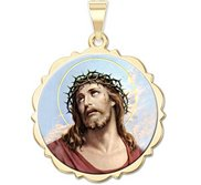 Ecce Homo Scalloped Round Religious Medal  Color EXCLUSIVE