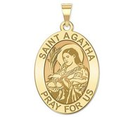 Saint Agatha Religious Oval Medal   EXCLUSIVE