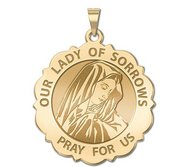 Our Lady of Sorrows Scalloped Round Religious Medal  EXCLUSIVE
