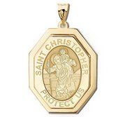 Saint Christopher Three Dimensional Premium Weight Long Octagon Religious Medal    EXCLUSIVE