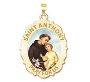 Saint Anthony Scalloped Religious Medal  Color EXCLUSIVE