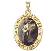 Saint Francis of Assisi    w  Christ Religious Medal   Color EXCLUSIVE