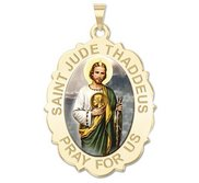 Saint Jude Scalloped Color Religious Medal   EXCLUSIVE